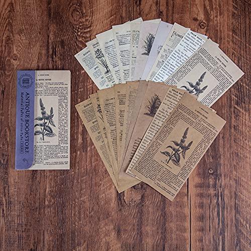 Morantsale 60 hojas retro librería serie vintage periódico material diario diario diario...