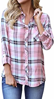 Women's Flannel Collared Long Sleeve Plaid Shirt