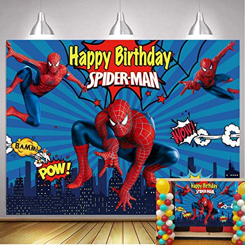 Spiderman Photography Backdrop Blue Baby Boys Happy Birthday Party Supplies Vinyl Super Hero Photo Background Super City Baby Shower Decoration Banner Cake Table Studio Booth Props 5x3ft