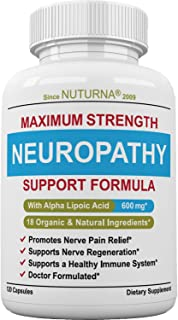 Neuropathy Support Supplement - Nerve Pain Relief with 600 mg Alpha Lipoic Acid Daily Dose - Diabetic Peripheral Neuropathy - Feet Hand Legs Toe Maximum Strength Nerve Renew Repair Formula, 120 Pack
