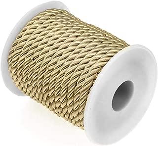 RUBY - Cordón trenzado, cordón rayon 5.5mm, bobina de 10 metros. Decoración, costura, actividad Manual, creativa, handmade Envio urgente gratis (Dorado)