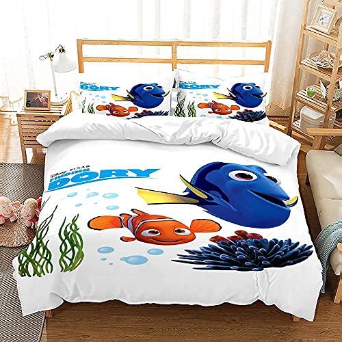WTWE Juego de ropa de cama 3D con diseño de pez, funda nórdica de microfibra con cremallera y 2 fundas de almohada -F1 _ 200 _ 200 _ cm
