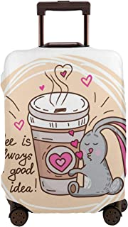 Travel Luggage Cover,Coffee Lover Funny Bunny Hugging Take Out Cup With A Quote Doodle Artwork Suitcase Protector