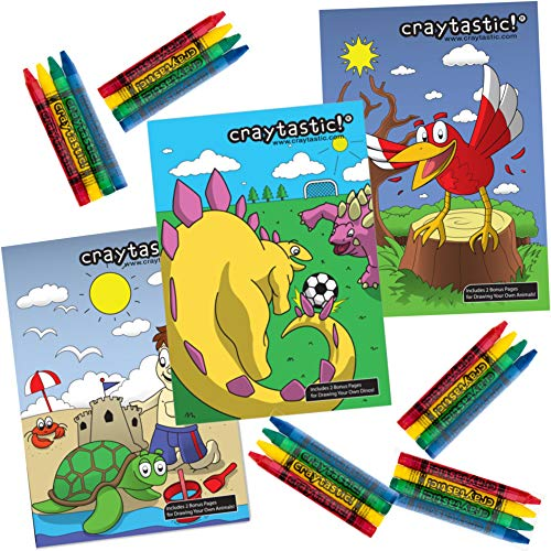 Craytastic! Bulk Coloring Activity Set: 48 Individually Wrapped 4-Packs of Crayons + 48 Mini Coloring Books Variety Pack - Non-Toxic/Fun for Kids Party Favors, Restaurants, School and Treasure Boxes