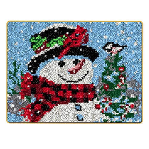 DYNWAVE Christmas Latch Hook Kits, Tapestry Carpet Cushion Rug Making Kit DIY Embroidery Sewing Tool, for Kids Adults Beginners with Printed Canvas Pattern - Scarf Snowman