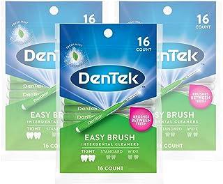 DenTek Easy Brush Interdental Cleaners   Brushes Between Teeth   Tight Teeth   Mint Flavor   16 Count   Pack of 3