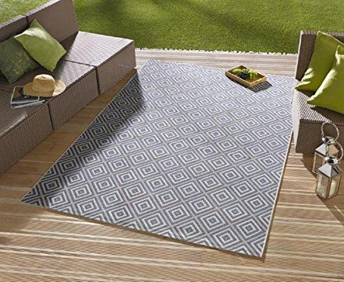 Teppich / moderner Teppich / Wohnzimmerteppich Outdoorteppich - für Balkon oder Terasse - für In und Outdor geeignet - der Hingucker zu Ihren Gartenmöbel - Karo Blau - ca 160 x 230 cm
