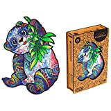 UNIDRAGON Wooden Puzzle Jigsaw, Best Gift for Adults and Kids, Unique Shape Jigsaw Pieces Serious Panda, 9.4 x 7 in (18 x 24 cm) 110 pcs, Small