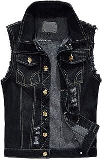 Mens Vintage Slim Sleeveless Demin Jeans Gilets Waistcoat Jacket Top Vest