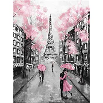 Without Frame DIY Oil Paint by Number Kit for Adults Beginner 16x20 inch-Eiffel Tower Drawing with Brushes Christmas Decor Decorations Gifts
