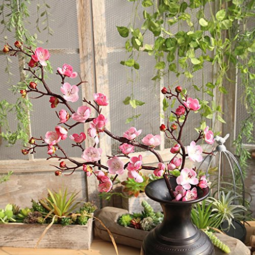 Longra Künstliche Blumen, 1 Stück Gefälschte Blumen Seide Blumen Plastik Kunstblume Pflaumenblüte Blumenstrauß Blumen-Bouquet zu Hochzeit Party Hause Dekoration (Pink)
