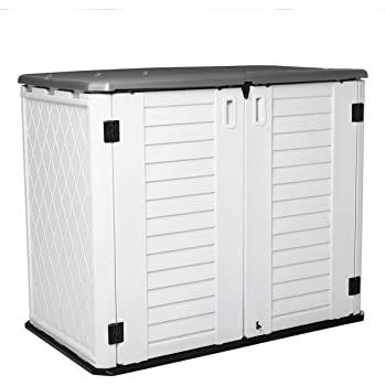 Horizontal Outdoor Garden Storage Shed for Backyards and Patios, Plastic Storage Box Waterproof, Small Shed 26 Cubic Feet Capacity for Bike, Garbage Cans, Lawn Mower, Tools and Garden Accessories
