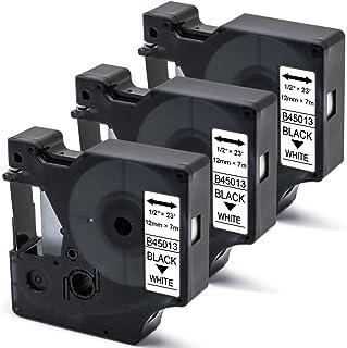 B-T 3x compatibele tape vervanging voor D1 12mm 0.47 45013 45013s S0720530 12mm x 7m etikettape voor Dymo LabelManager 160...