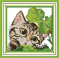 LovetheFamily クロスステッチキット DIY 手作り刺繍キット 正確な図柄印刷クロスステッチ 家庭刺繍装飾品 11CT ( インチ当たり11個の小さな格子)中程度の格子 刺しゅうキット フレームがない - 34×34 cm 子猫は好奇心が強いです