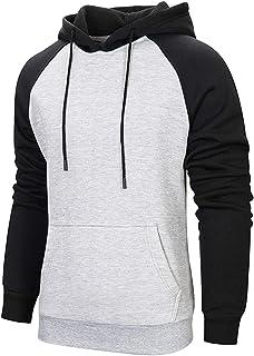Spowind Men's Casual Pullover Hoodies Raglan Long Sleeve Fleece Hooded Sweatshirts with Kanga Pocket