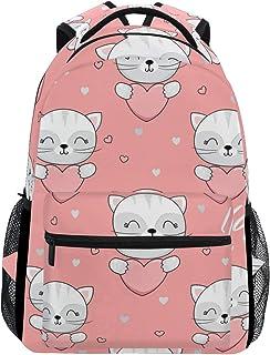 マキク(MAKIKU) リュック レディース 軽量 リュックサック 大容量 高校生 A4 中学生 小学生 通学 かわいい 猫柄 ピンク
