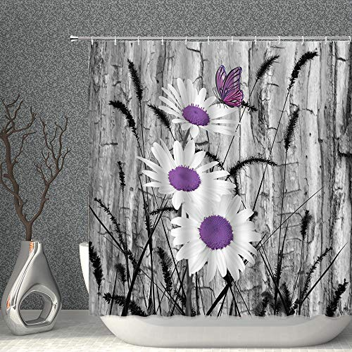 AMNYSF Floral Shower Curtain Purple Gray White Daisy Flowers Butterfly Black Foxtail Grass Decor Fabric Polyester Bathroom Curtains with Hooks 70x70 Inch