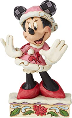 Enesco Disney Traditions by Jim Shore Minnie Mouse Christmas Personality Pose Figurine, 4.625 Inch, Multicolor