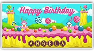 Candy Land Illustration Birthday Banner Personalized Party Decoration