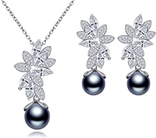 YSOUL Women Bridal Black White Pearl Necklace Earrings Jewelry Set Wedding Prom Cocktail
