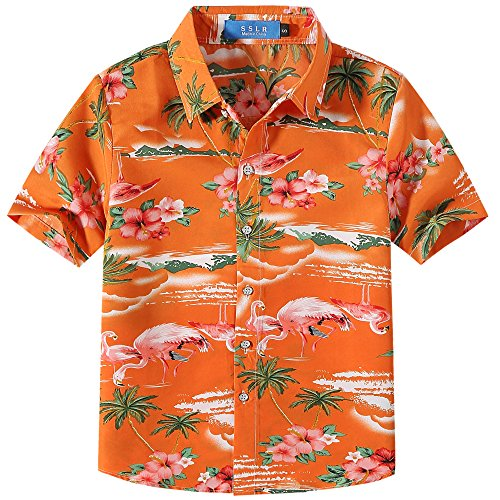 SSLR Big Boy's Flamingos Button Down Short Sleeve Aloha Hawaiian Shirt (Medium (10-12), Orange)