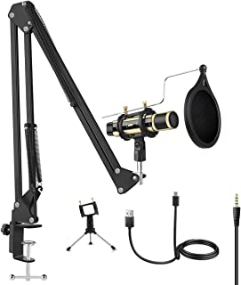 Microphone Bundle, ZealSound Condenser Mic Kit with Adjustable Suspension Scissor Arm, Metal Shock Mount and Triple Stand for Music Recording Singing Garageband Smule YouTube Work with Phone & PC