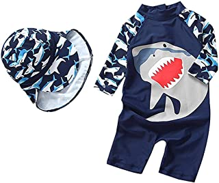 Jojobaby Baby/Toddler Boys One Pieces Long Sleeve Swimsuit Set UPF 50+ Sun Protection Zipper Bathing Suit with Hat