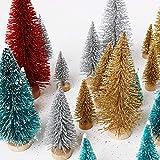 Cusfull 26 x Mini Weihnachtsbaum Tannenbaum mit Unterlage Christbaum Kiefern Glitzer Dekoration Weihnachten Ornamente Tischdeko Kinder Bastelarbeit DIY - 3