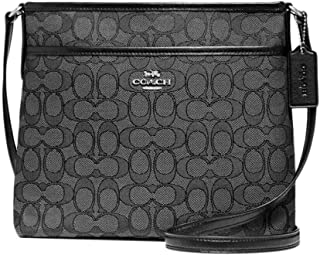 Coach Outlined Zip File Crossbody (Black Grey), Medium