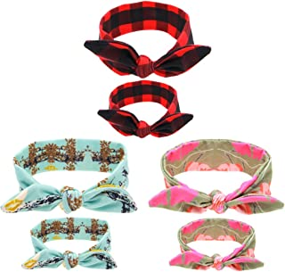 Welandtech Mom and Baby Girl Bow Headbands Bunny Ears Knotted Hair Band 3 Pack