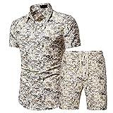 Henley Camisa Hombre Verano Básica Ajustado Elástica Hombre Shirt Moderna Personalidad Moda Estampado Manga Corta Set Urbana Cárdigan Casual Vacaciones Playa Shirt A-DC03 3XL