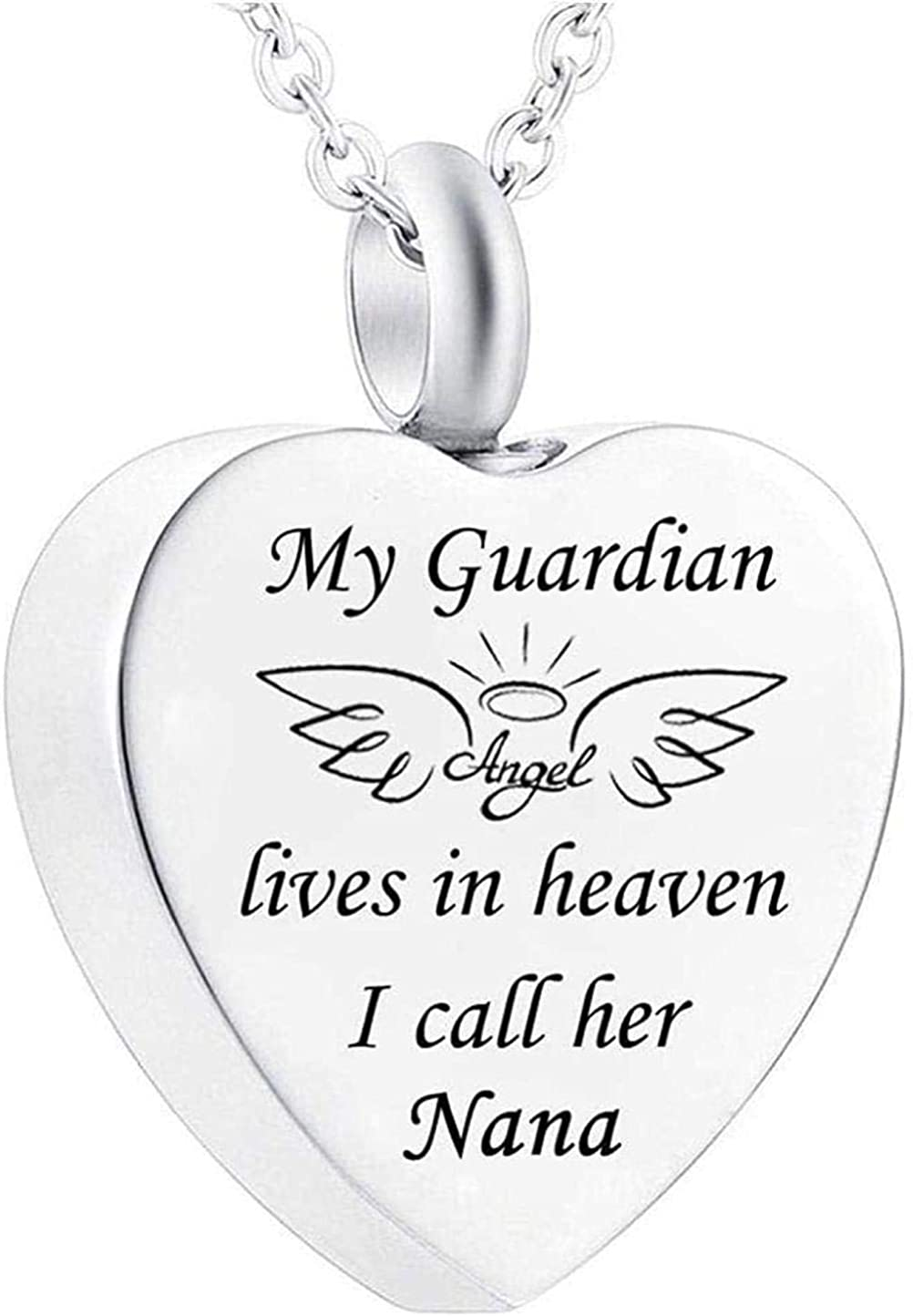 Ashes Chain Cremation Memorial Urn Necklace Cremation Memorial Jewelry My Guardian Angel Nana Cremation Urn Memorial Stainless Steel Heart Pendant Necklace