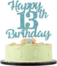 LVEUD 13th Birthday Cake Topper for Happy Birthday, 13 Blue Flash 13th Cake Topper,Happy Birthday Cake Topper Cake Ornament (13th)
