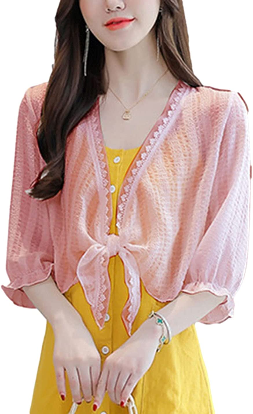 AMEBELLE Women's Lace Trim Tie Knot Open Front Cardigan 3/4 Sleeve Crop Shrug Tops