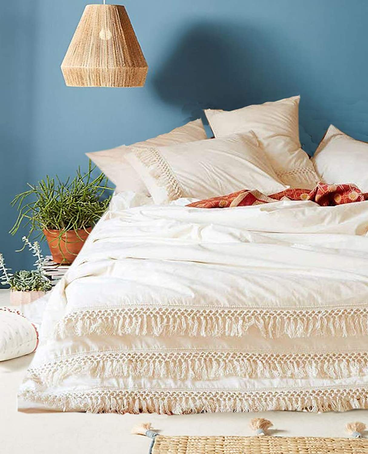 Flber White Cotton Tassel Duvet Cover,Full Queen,86inx90in