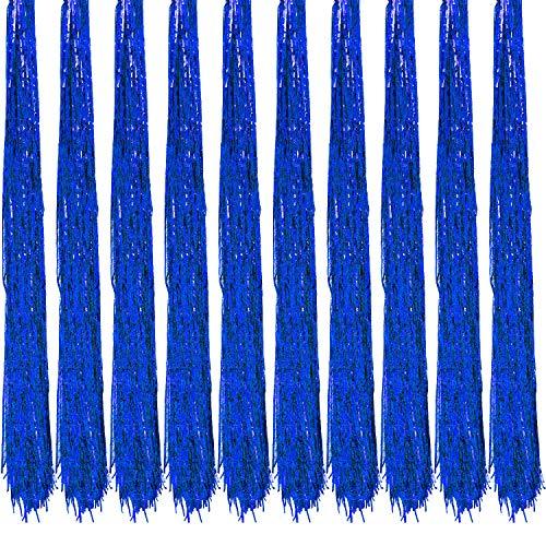Oblique Unique® 10x Lametta Glänzend 100cm für Weihnachtsbaum Baumschmuck Weihnachtsdeko Weihnachten Party Feier Deko Silber Gold Weiß Schwarz Pink Lila Blau Grün - Farbe Wählbar (Blau)