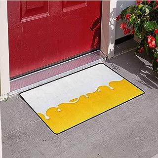 RelaxBear Yellow and White Universal Door mat Dripping White Milk Cream Paint Yogurt on Yellow Honey Background Print Door mat Floor Decoration W23.6 x L35.4 Inch Yellow White