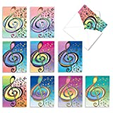 Treble Clef Design Thank You Note Card Set of 10 with Envelopes 4 x 5.12 inch - Music Note with Colorful Background 'Design Tunes' Greeting Cards M2315