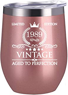 1989 30th Birthday Gifts for Women Men - 12 oz Stainless Steel Wine Glass Tumbler with Lid Party Decorations Supplies - Funny30th Birthday Gift Ideas for Him Her Husband Wife Mom Dad
