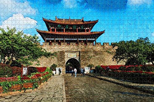 Rompecabezas Ciudad Vieja de China Yunnan Dali Puzzle para Adultos 1000 Piezas De Madera Paisaje Pintura al óleo Recuerdo de Viaje Lámina Regalo