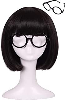 ColorGround Kids Size Short Straight Black Natural Cosplay Wig with Glasses frame