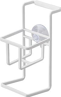 山崎実業(Yamazaki)吸盤 スポンジ & ボトルホルダー ホワイト 約W6.5XD10XH15cm タワー スポンジホルダー リコン滑り止め付き 4774