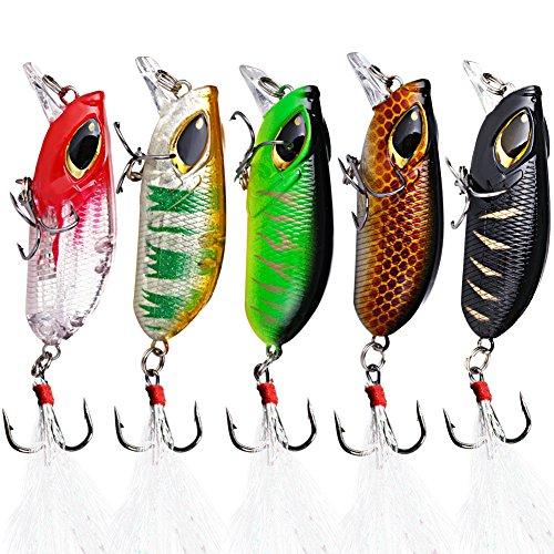 Sougayilang Minnow Fishing Lures Crankbaits Set Fishing Hard Baits Swimbaits Boat Topwater Lures for Trout Bass Perch Fishing-Style-E 10Pcs