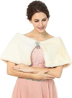 شالات من الفرو والزفاف للنساء من Campsis بدون أكمام من الفرو الصناعي سروال زفاف شتوي مناسب للنساء والفتيات