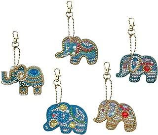 Mosaic Making Kits, 5pcs DIY Full Special Shaped Diamond Painting Elephant Keyring Keychains