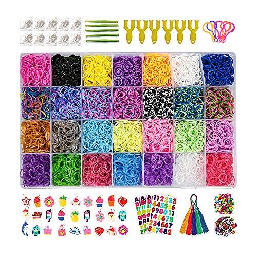 Innoo Tech Loom Bänder Set, Kinderspielzeug DIY Rainbow Gummibänder 10,000+ , 600 S-Clips, 160 Perlen, 30 Cartoon-Anhänger,10 Rucksackhaken, 6 Y-Webstühle, 5 Quasten, 5 Häkelnadeln, 4 Aufkleber