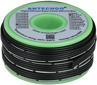 BNTECHGO 26 Gauge Silicone Ribbon Cable Copper Wire 4P Flat Cable 26 AWG Flexible Soft Silicone Rubber Parallel Wire Strand Wire High Temp 200 deg C 600V 4 Pin Black 25 ft