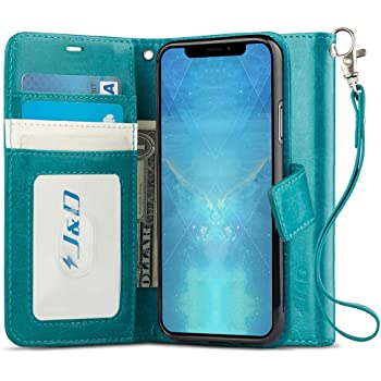 J&D Compatible para iPhone XS MAX Funda, [Bloqueo de RFID] [Soporte Plegable] Funda Pesada Resistentes Billetera para iPhone XS MAX Funda Cuero - [No para iPhone XR/iPhone X] - Turquesa