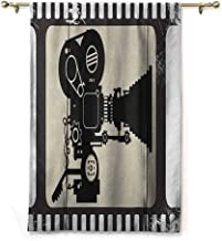 Andrea Sam Thermal Insulated Blackout Curtain Movie Theater,Movie Frame Pattern with Silhouette of Movie Reels in a Projector, Dark Taupe Beige Black,36