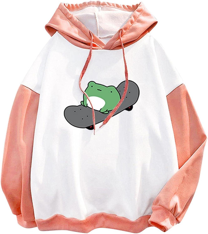 AIHOU Hoodies for Women Skateboarding Frog Hoodies Long Sleeve Cute Sweatshirts Graphic Trendy Hoodies Casual Pullover Tops